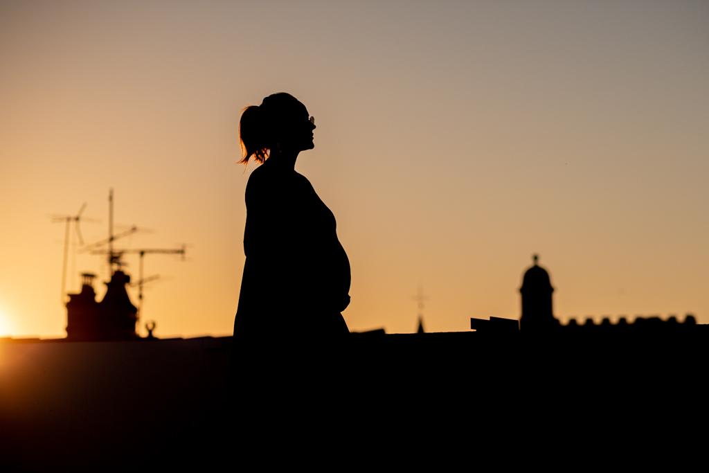 Silhouette d'une femme enceinte sur les toits de Toulouse