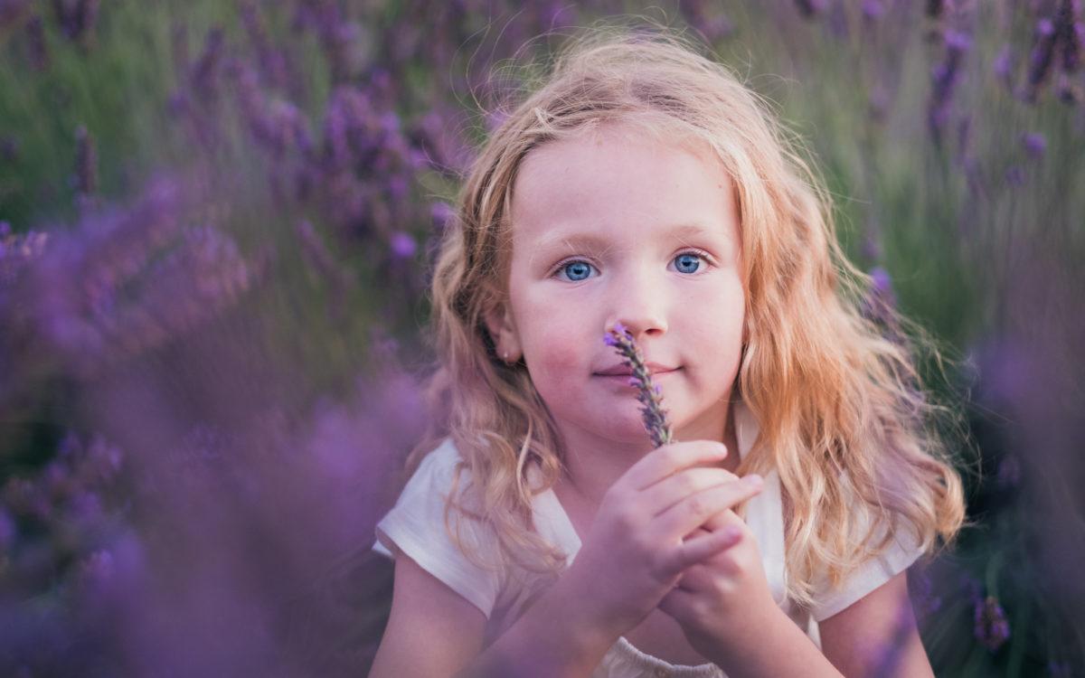 Portrait d'une petite fille blonde qui sent un brin de lavande