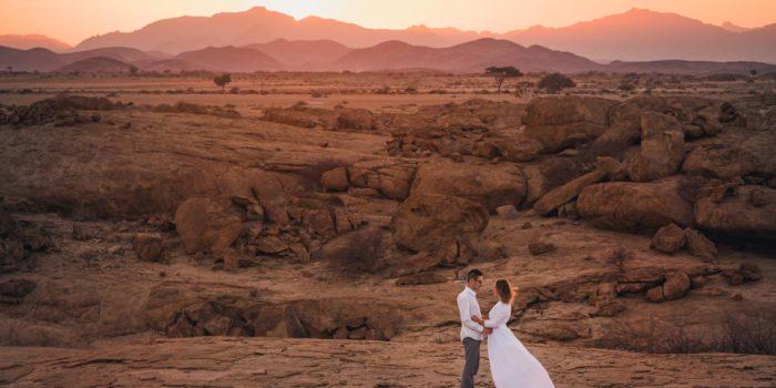 Couple de mariés en Namibie